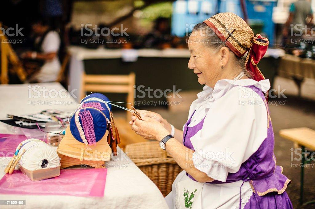 Portrait of lace maker senior woman royalty-free stock photo