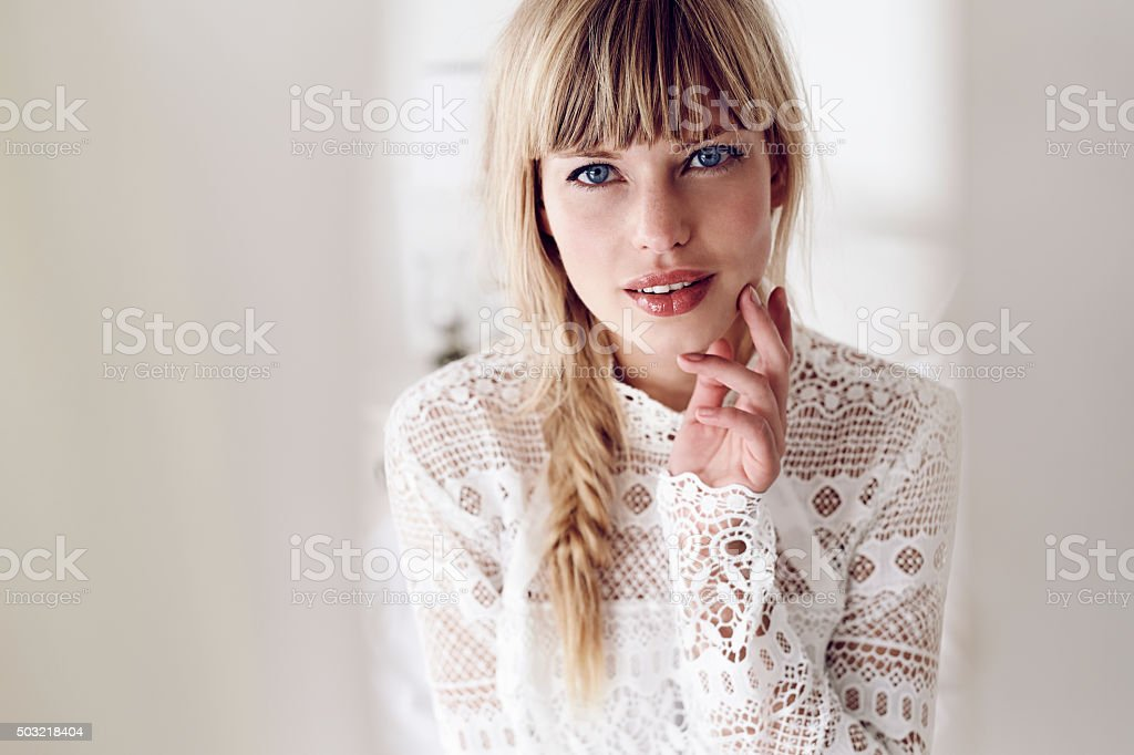 Portrait of lady in lace stock photo