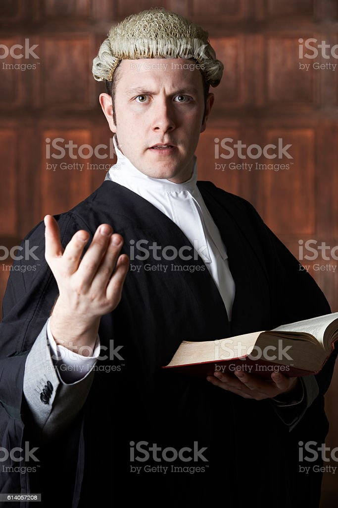 Portrait Of Lawyer Holding Brief And Book Making Speech stock photo