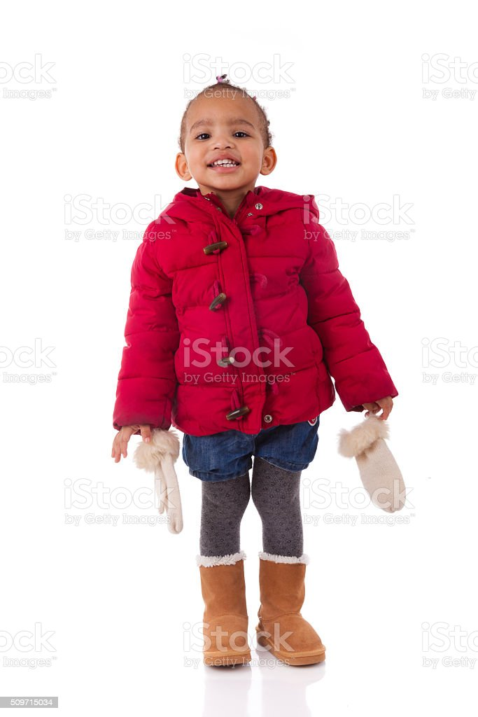 Portrait of little African American little girl isolated other w stock photo