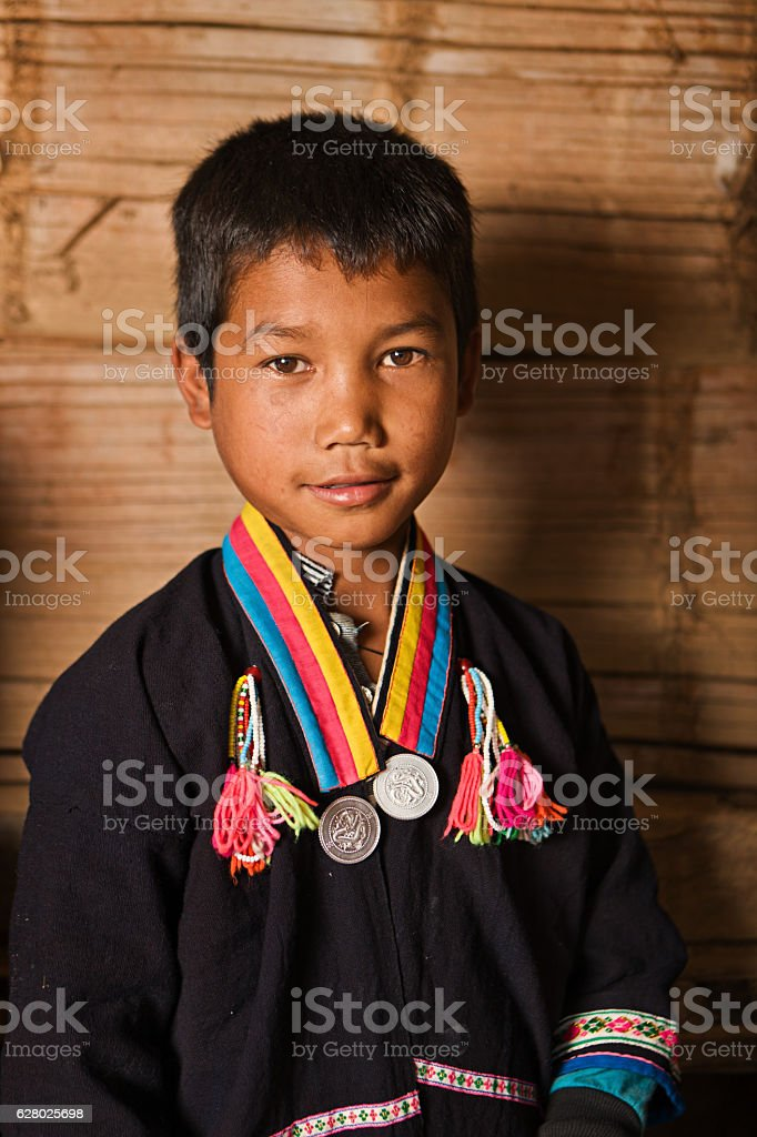 Portrait of little Akha boy in Northern Laos stock photo