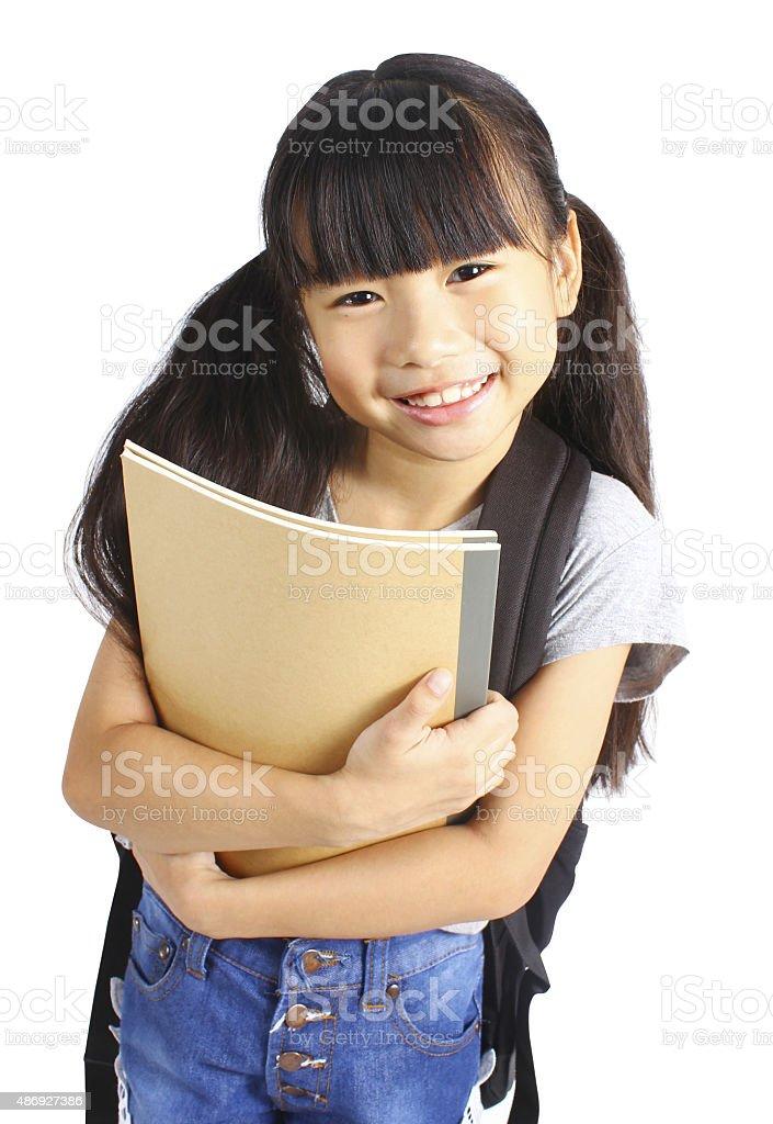 Porträt von kleinen asiatischen Mädchen mit Rucksack Lizenzfreies stock-foto