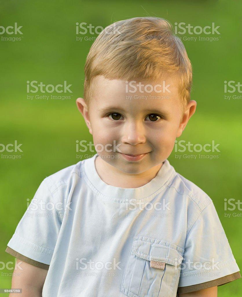 Portrait of little boy on green grass field stock photo