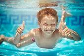 Portrait of little boy swimming underwater in pool