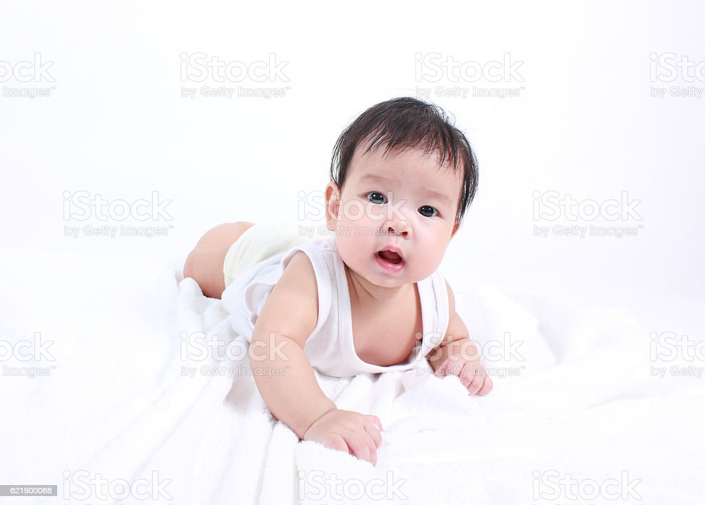 Portrait of little cute baby stock photo