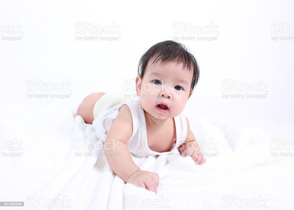 Portrait of little cute baby stock photo