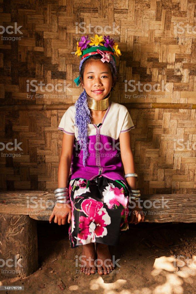 Portrait of little girl from Long Neck Karen Tribe stock photo