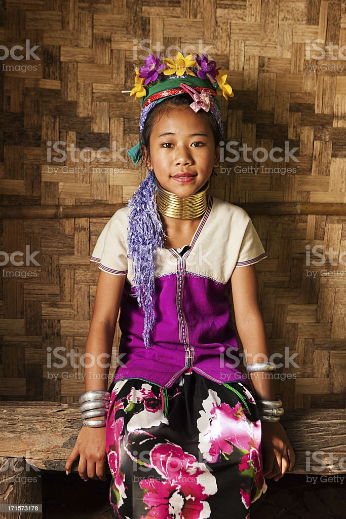 Portrait of little girl from Long Neck Karen Tribe stock photo