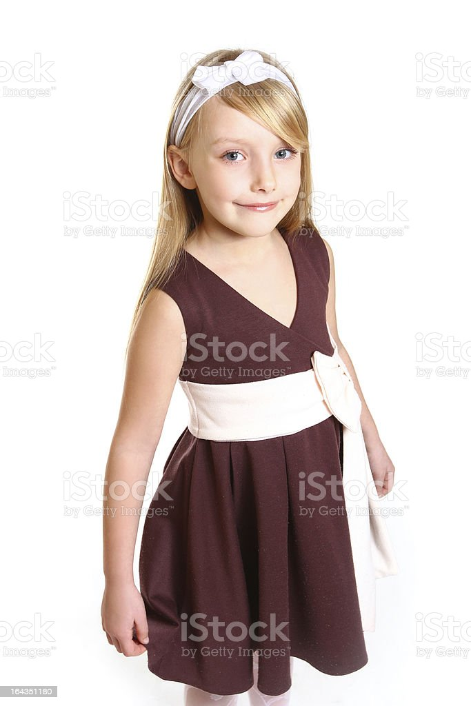 Portrait of little girl in a dress on  white background royalty-free stock photo