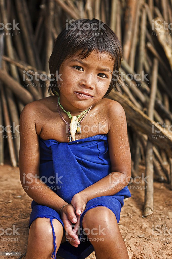 Portrait of little girl in Northern Laos royalty-free stock photo