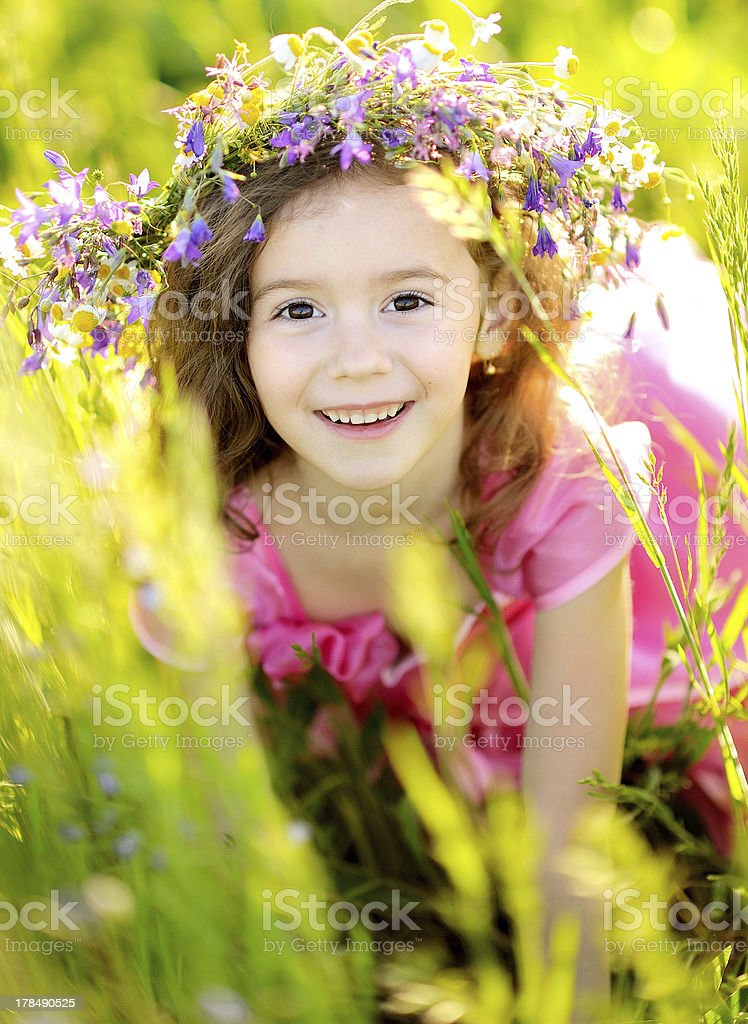 portrait of little girl outdoors in summer royalty-free stock photo