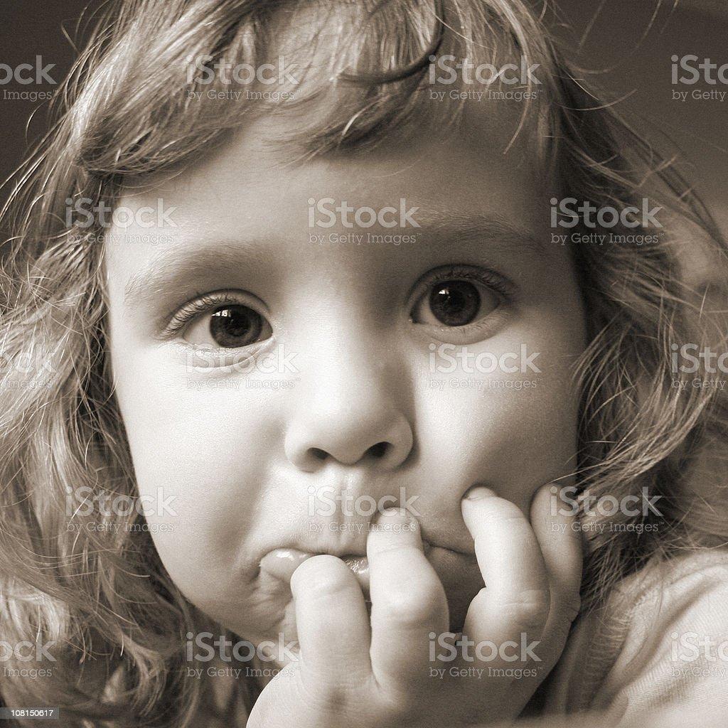 Portrait of Little Girl, Sepia Toned stock photo
