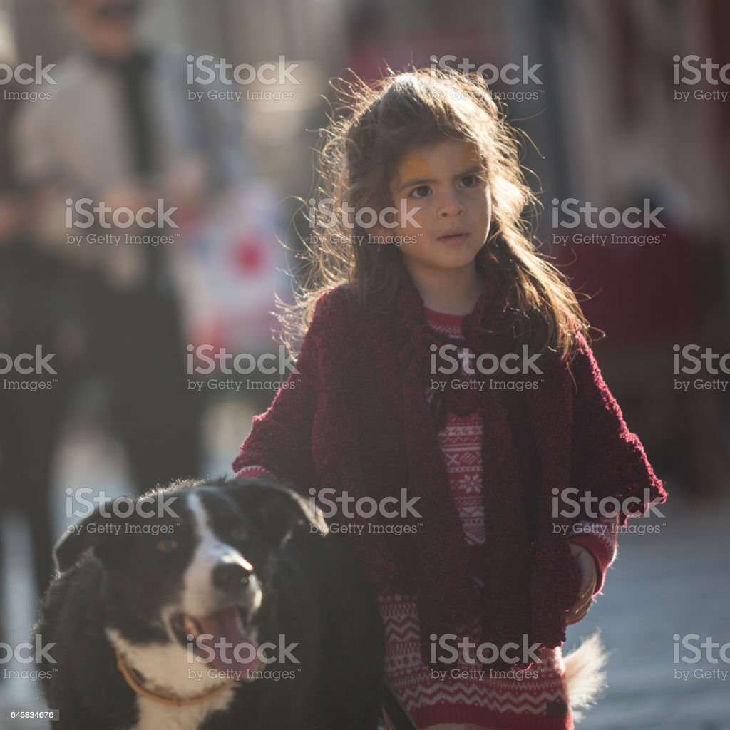 Portrait Of Little Girl With Her Border Collie Dog stock photo