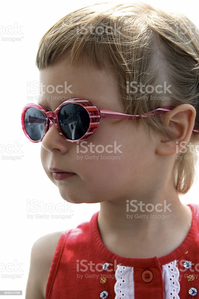 Portrait of little girl with sunglasses royalty-free stock photo