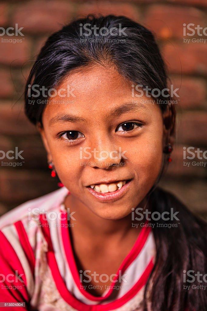 Portrait of little Nepali girl in Bhaktapur stock photo