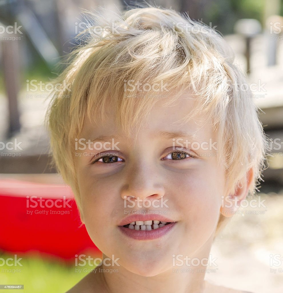 Portrait of little smiling blond boy royalty-free stock photo