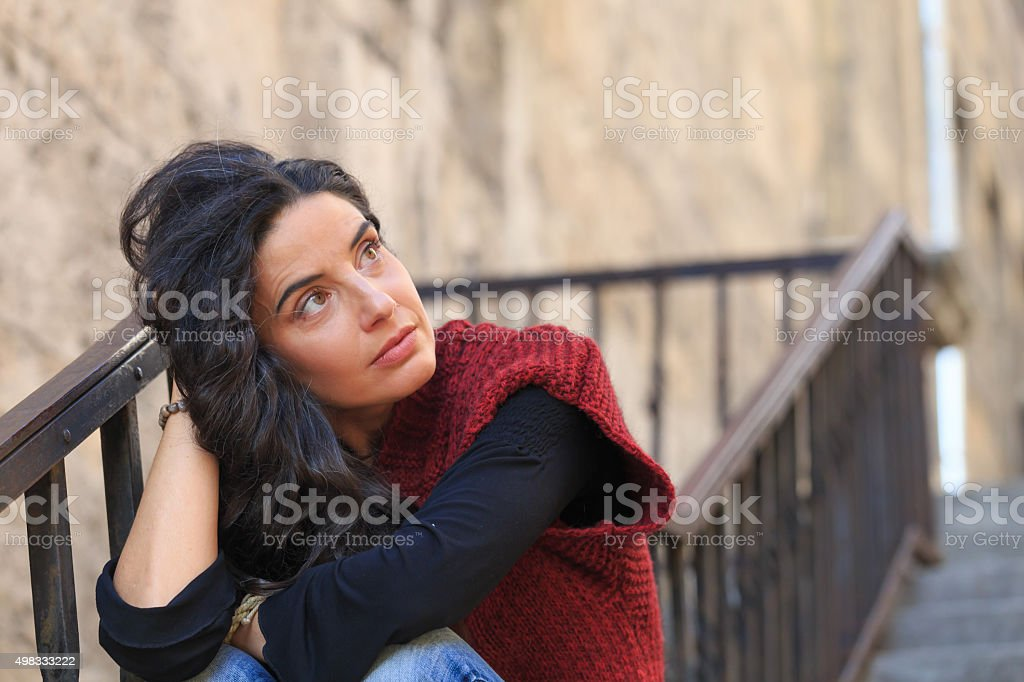 Portrait of lonely youg woman stock photo