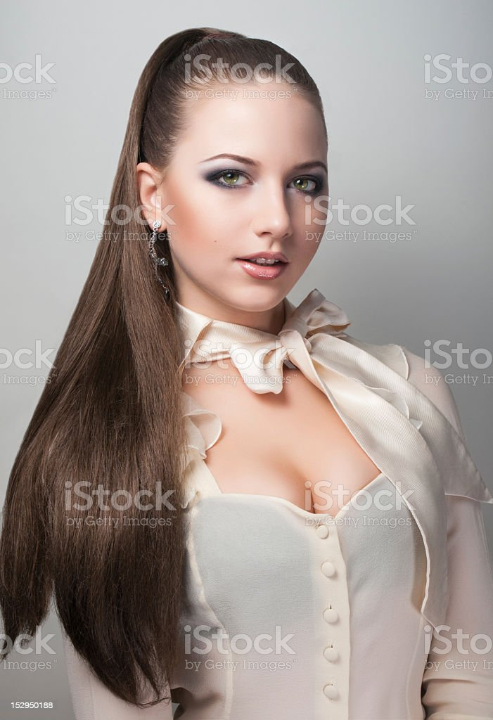 Portrait of long hair sexy girl royalty-free stock photo
