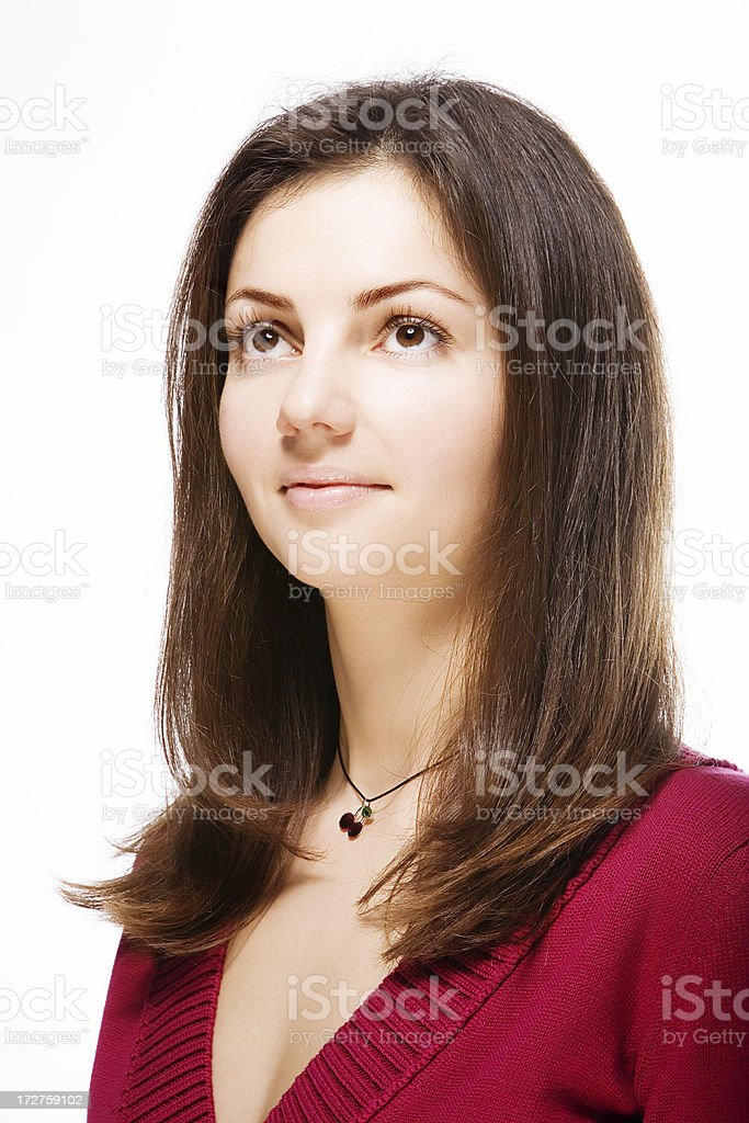 portrait of looking up woman stock photo