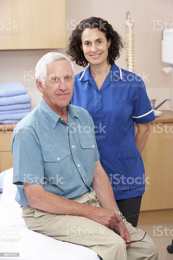Portrait of male and female osteopath royalty-free stock photo