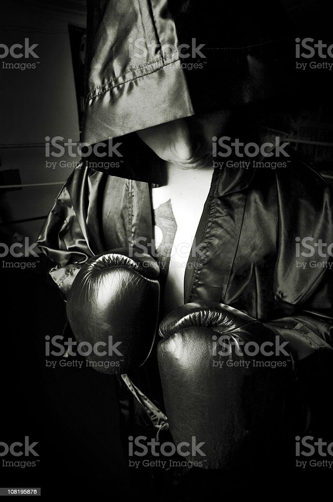 Portrait of Male Boxer Wearing Hood, Black and White stock photo