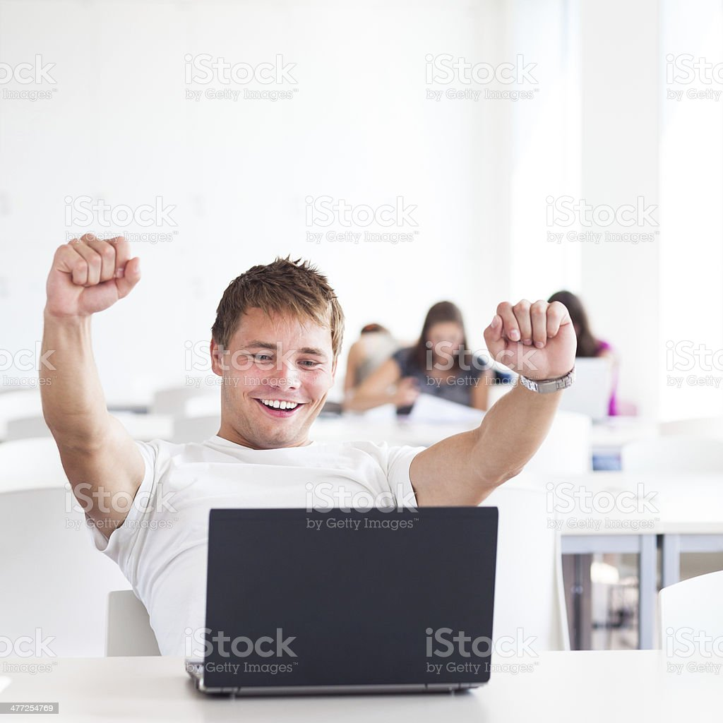 Portrait of male college student stock photo