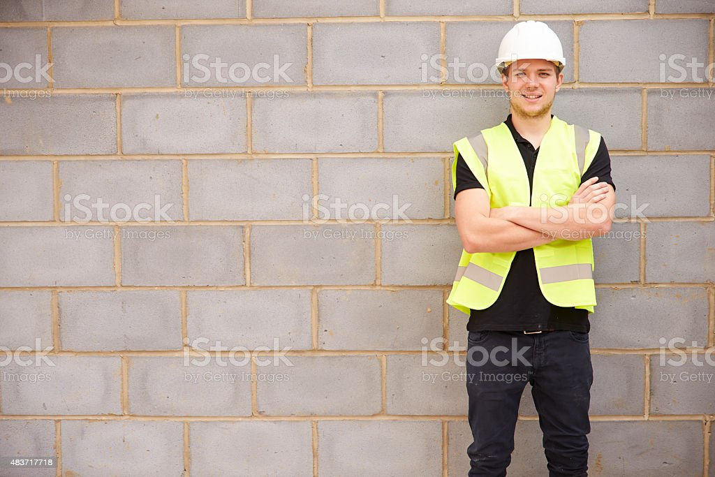 Portrait Of Male Construction Worker On Building Site stock photo