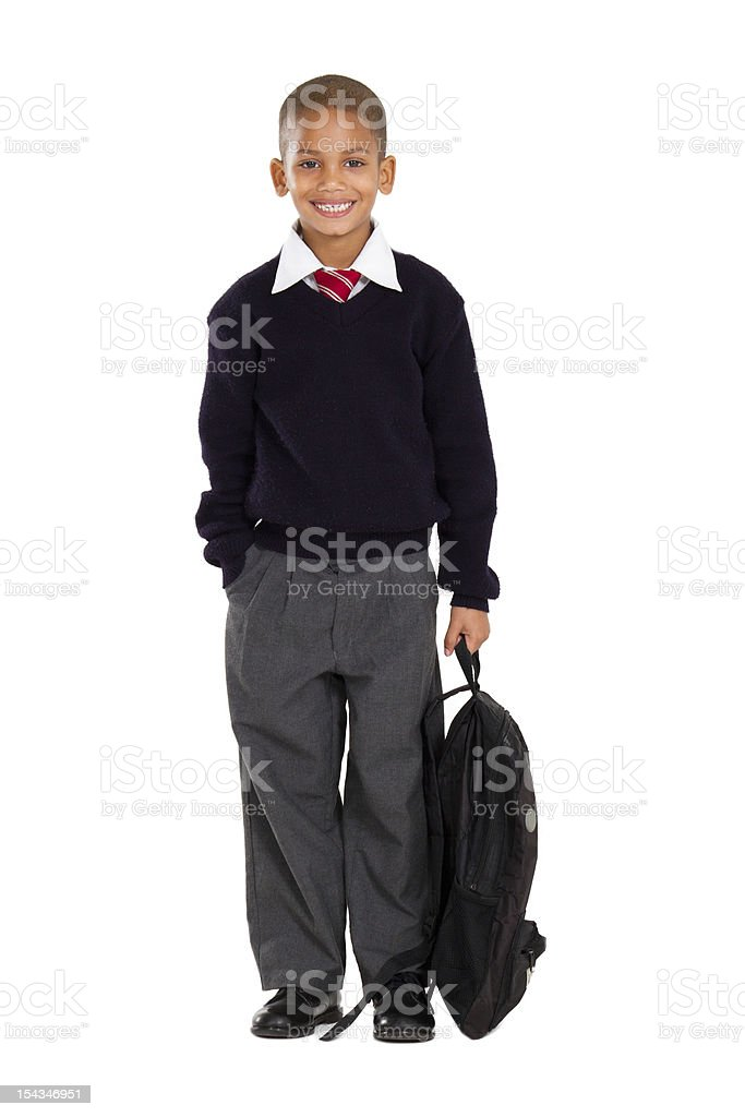 portrait of male elementary pupil on white stock photo
