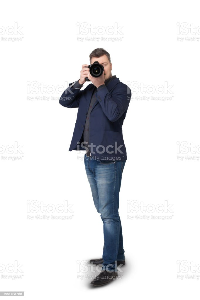 Portrait of male photographer with digital camera stock photo