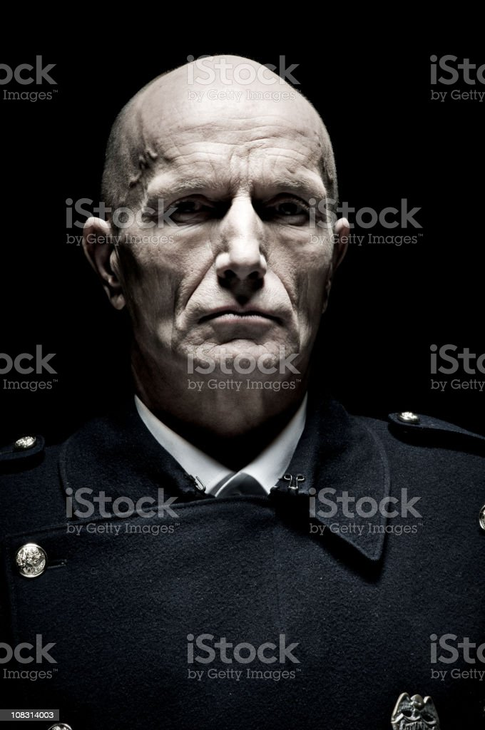Portrait of Male Police Officer, Toned royalty-free stock photo
