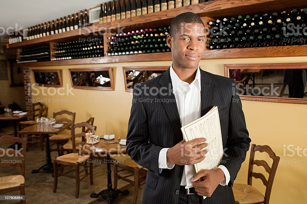 Portrait of male restaurant owner stock photo