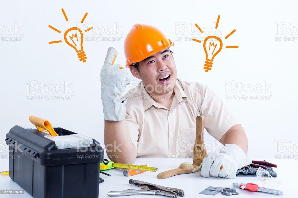 portrait of male techniciand stock photo