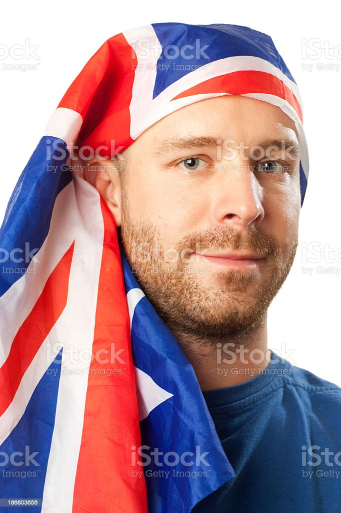 Portrait of  man covered by Australian Flag. stock photo