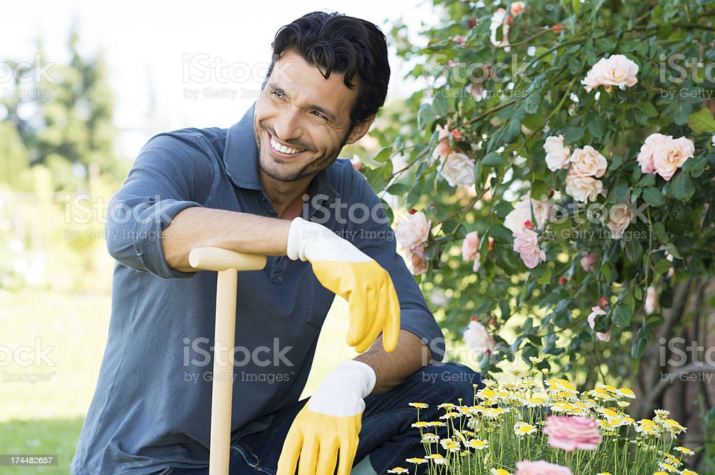 Portrait Of Man Gardening stock photo