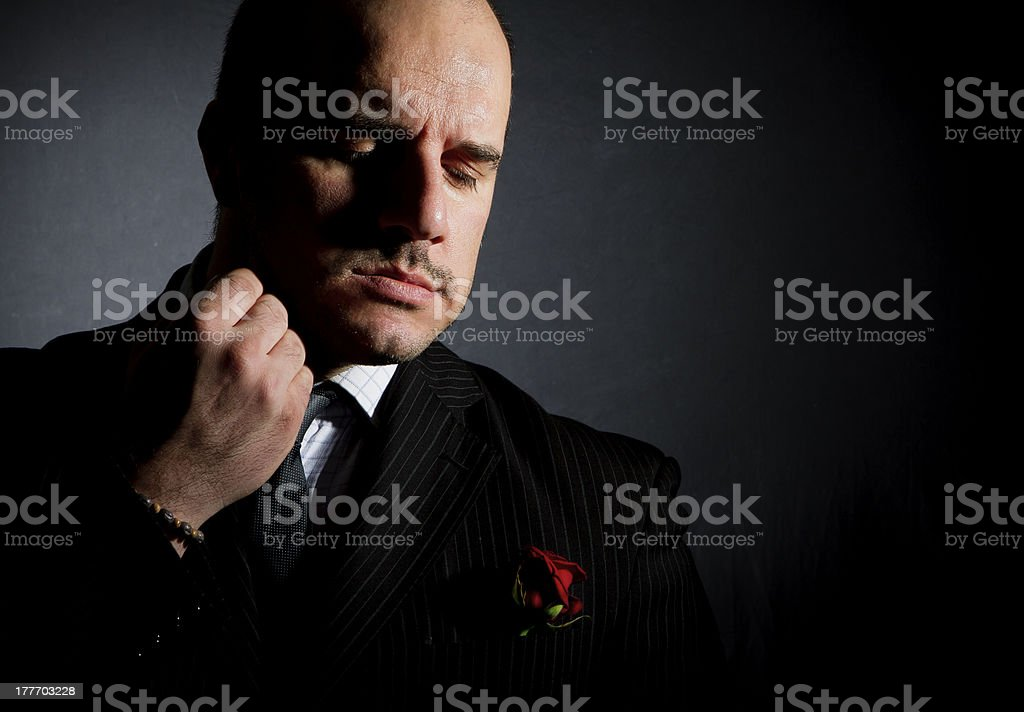 Portrait of man, godfather-like character. stock photo