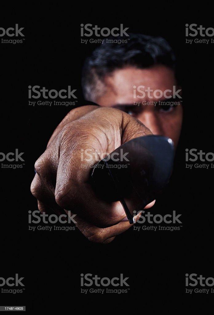 Portrait of Man Holding Knife Blade stock photo