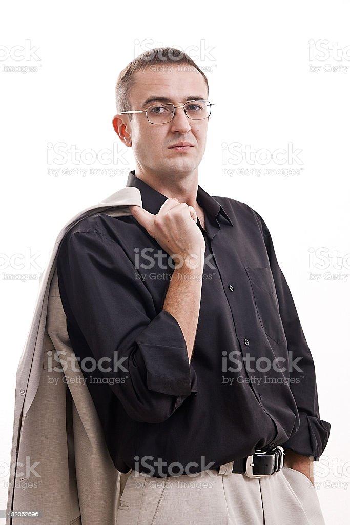 Retrato de hombre en camisa negra anteojos. foto de stock libre de derechos