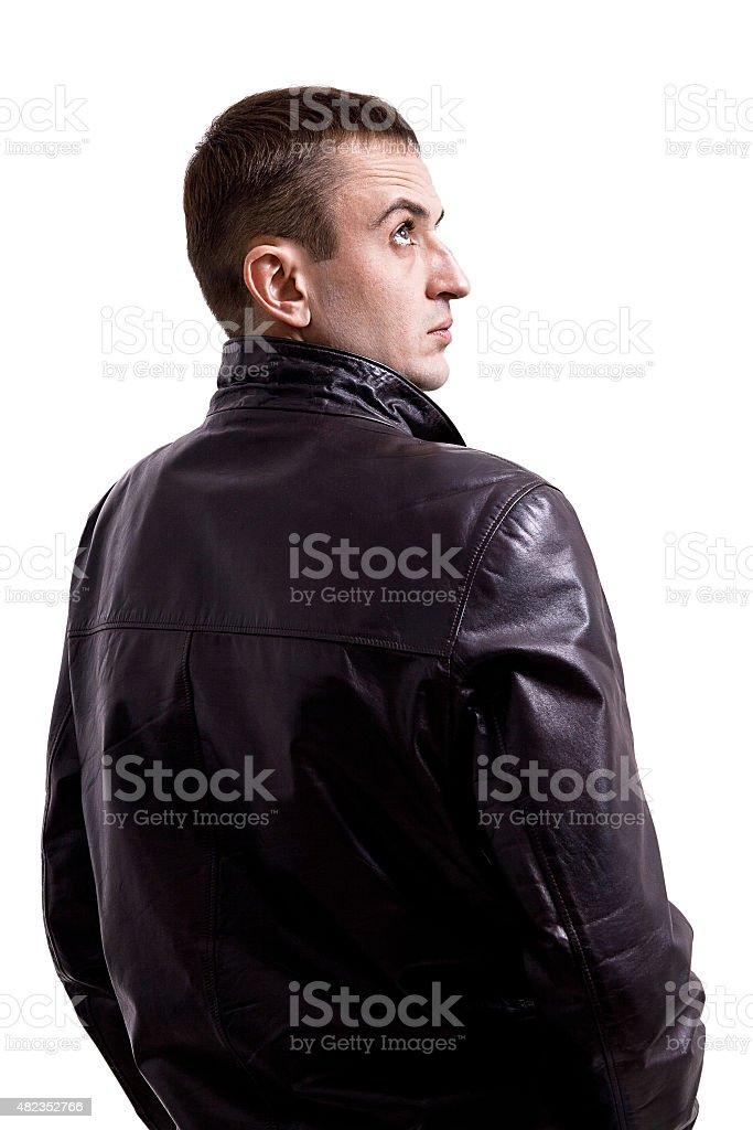 Retrato de hombre con chaqueta de cuero foto de stock libre de derechos