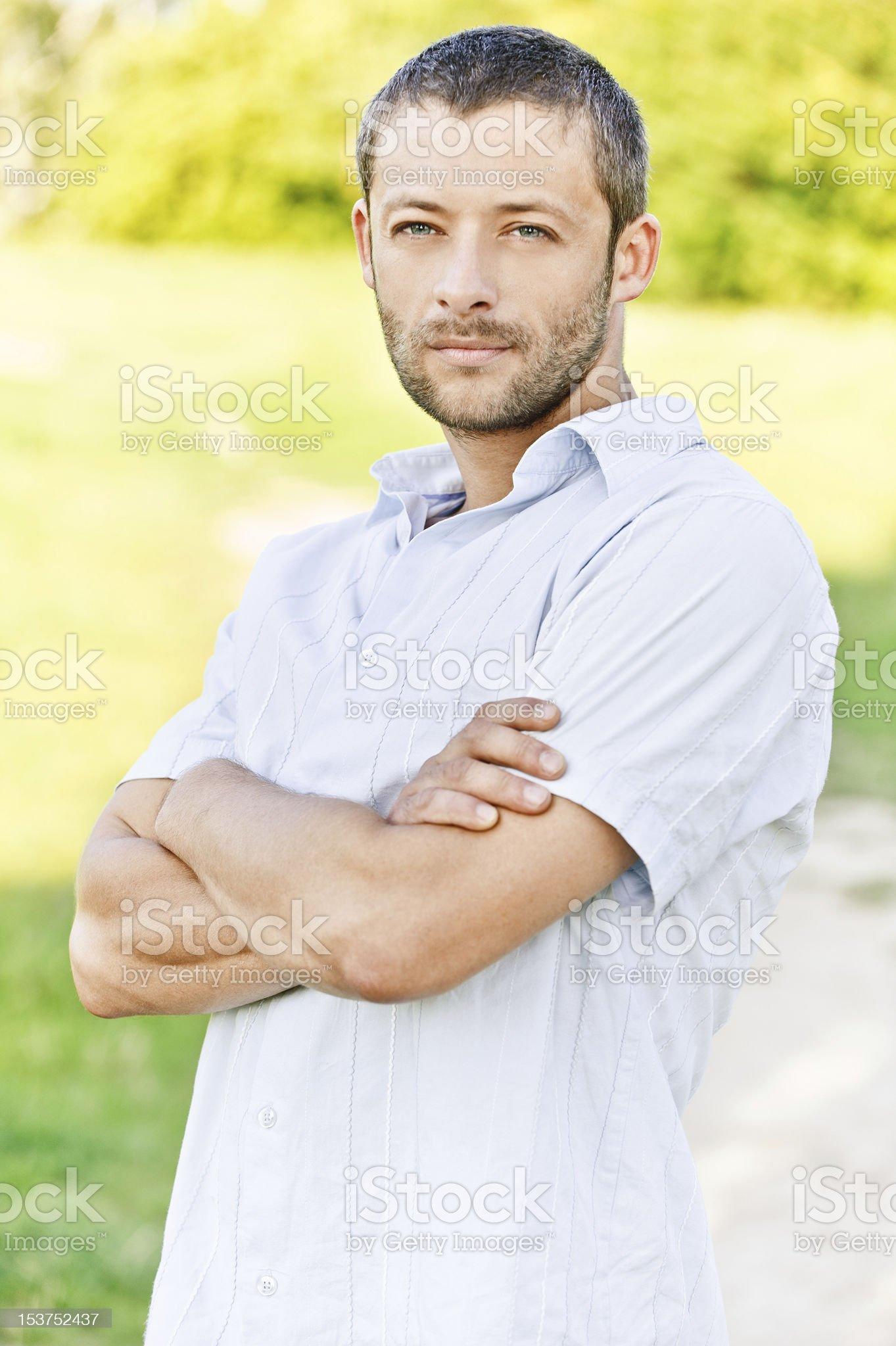 Portrait of man in light shirt royalty-free stock photo