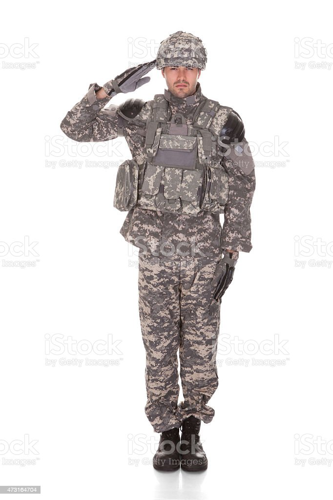 Portrait Of Man In Military Uniform Saluting stock photo