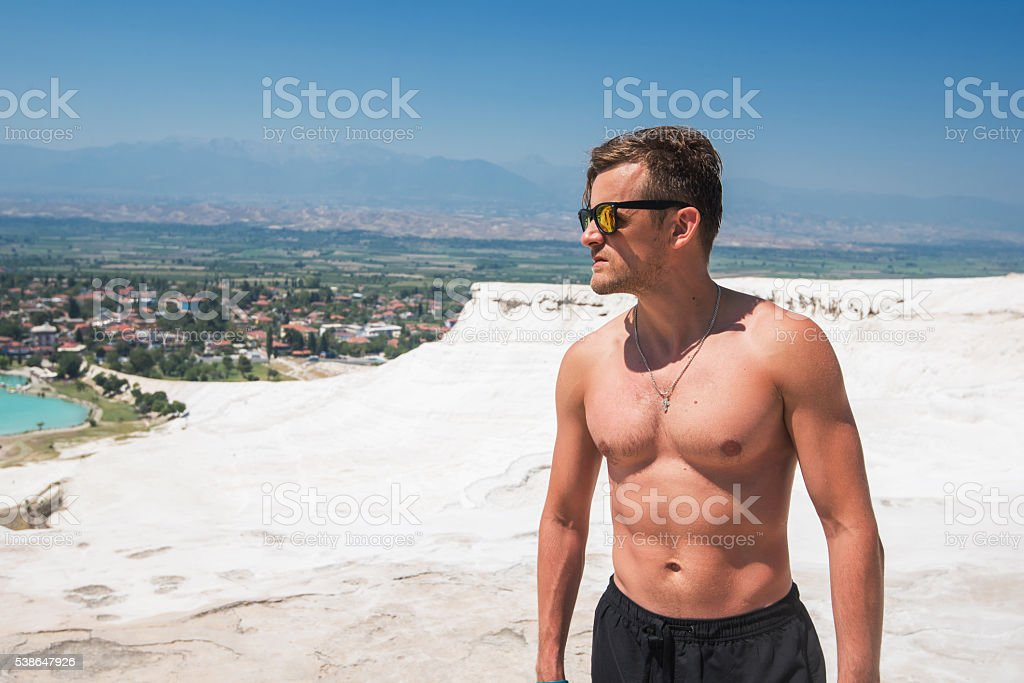 Portrait of man in Pammukale stock photo