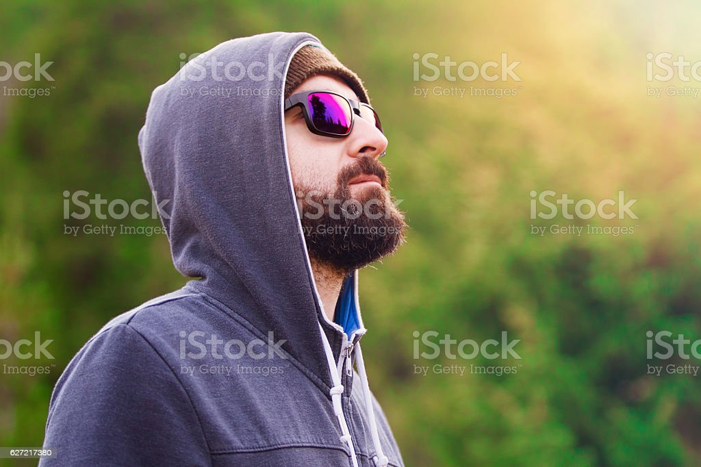 Portrait of man in the Mountain stock photo