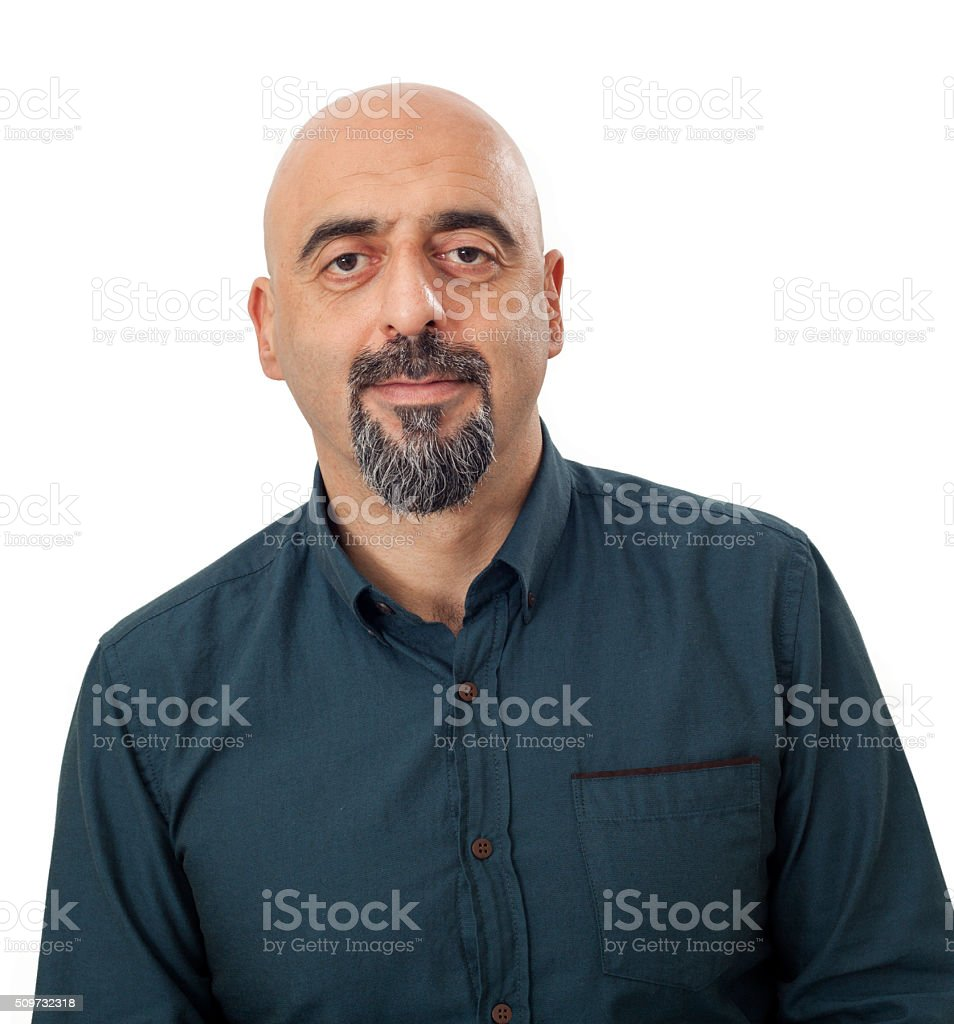 Portrait of man on white background stock photo