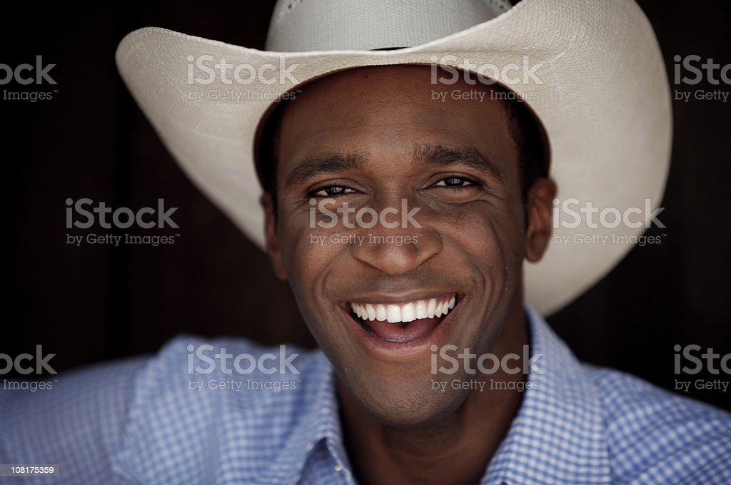 Portrait of Man Wearing Cowboy Hat royalty-free stock photo