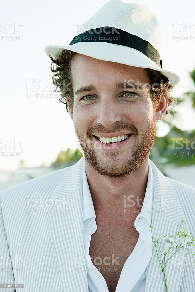 Portrait of man wearing white trilby royalty-free stock photo
