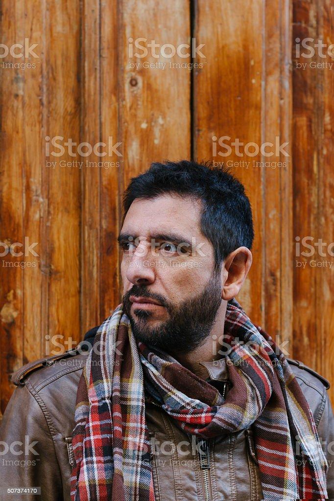 Portrait of man with beard stock photo