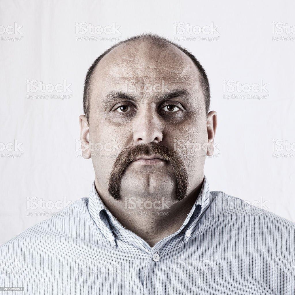 Portrait of man with mustache stock photo
