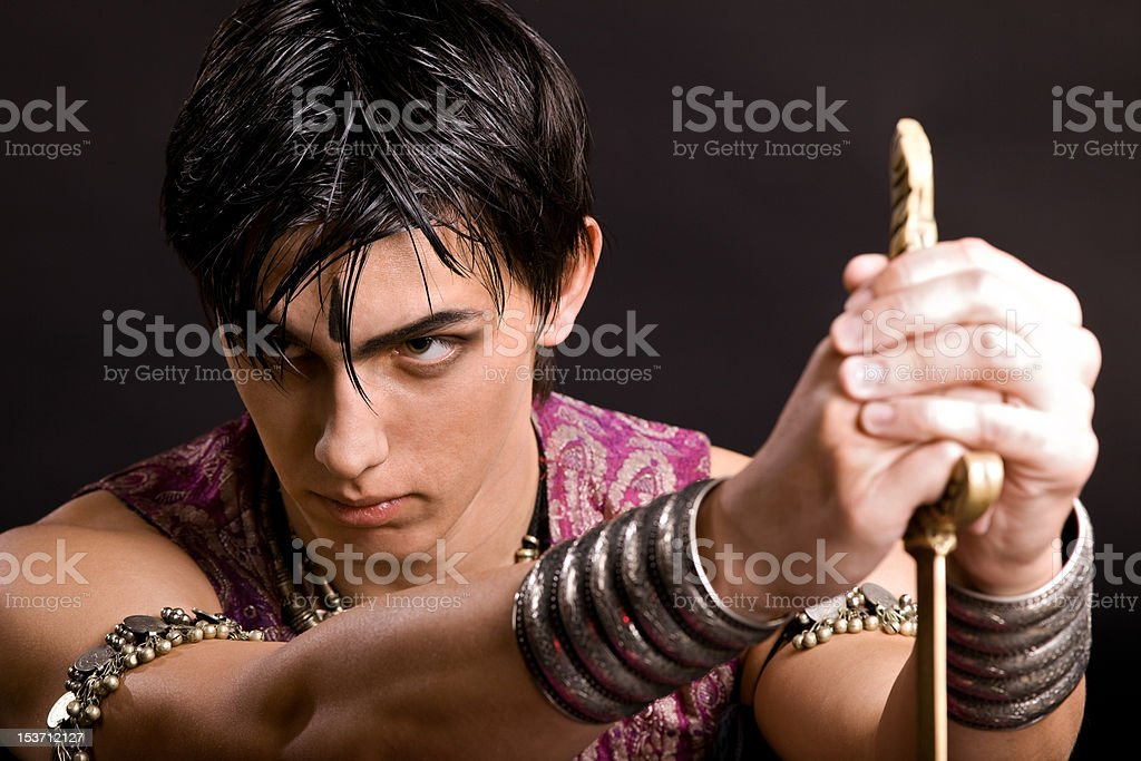 Portrait of man with saber stock photo