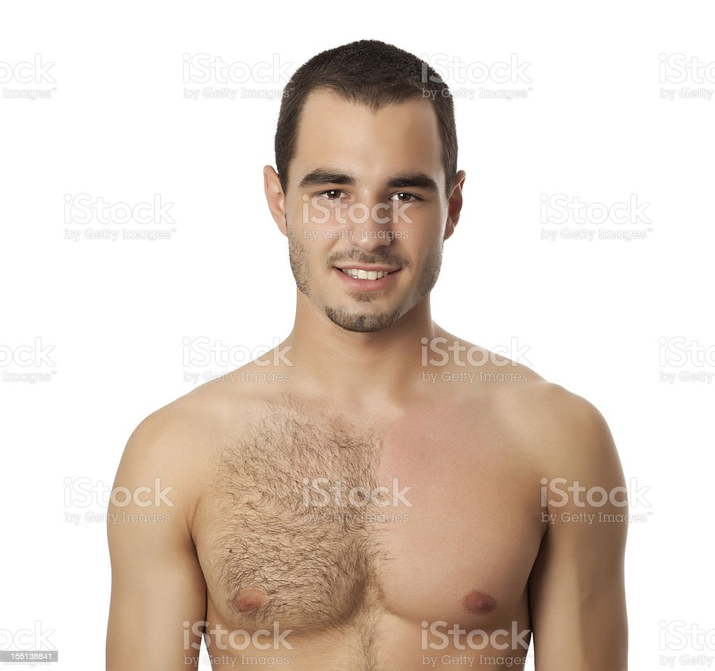 Portrait of man with wax on his chest. stock photo