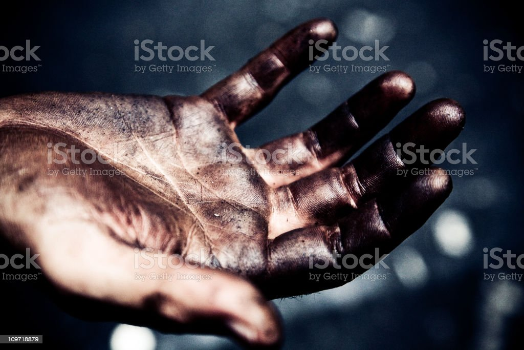 Portrait of Man's Dirty, Oil Grease Covered Hands stock photo